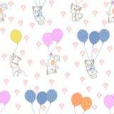 Bezszwowy kot i kolorowy balonu wzór royalty ilustracja