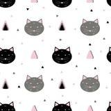 Bezszwowy kota wzór ilustracja wektor