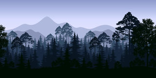 Bezszwowy krajobraz, drzewa i góry, Fotografia Royalty Free