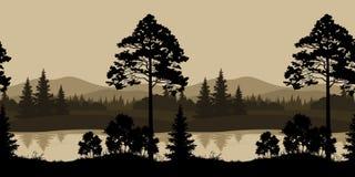 Bezszwowy krajobraz, drzewa, rzeka i góry, Zdjęcie Stock