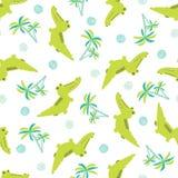 Bezszwowy kreskówka krokodyli i drzewek palmowych wzór ilustracji