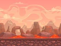 Bezszwowy kreskówka wulkanu pustyni krajobraz Obrazy Royalty Free