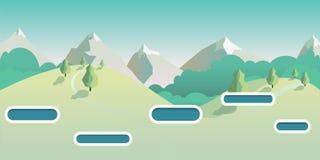 Bezszwowy kreskówki natury krajobraz, wektorowy bez końca tło z trawą, las, góry Zdjęcia Royalty Free