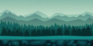 Bezszwowy kreskówki natury krajobraz z 2d gemowym zastosowaniem royalty ilustracja