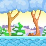 Bezszwowy kreskówki zimy krajobraz, wektor z śnieżnymi drzew, gór, lodu i nieba warstwami, Obrazy Stock