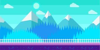 Bezszwowy kreskówki zimy wektoru krajobraz dla gry komputerowej Fotografia Royalty Free