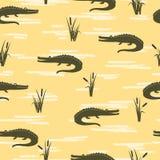 Bezszwowy krokodyla wzór Wektorowy żółty tło royalty ilustracja