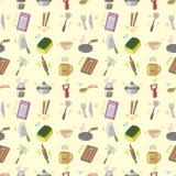 Bezszwowy kuchnia wzór ilustracja wektor