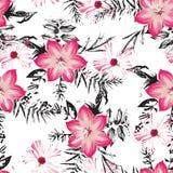 Bezszwowy kwiatów liści i gałąź wzór zdjęcie stock