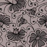 bezszwowy kwiatu czarny wzór Obrazy Royalty Free