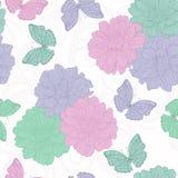 bezszwowy kwiatu motyli wzór ornament kwiecisty Pociągany ręcznie konturowe linie i uderzenia Zdjęcie Royalty Free