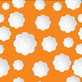 Bezszwowy kwiatu papier ciie na Pomarańczowym tle Obrazy Stock