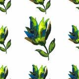 Bezszwowy kwiatu wzór na białej tło fantazi Wektor il Zdjęcia Royalty Free