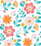 Bezszwowy kwiatu wzór na białym tle Obrazy Stock