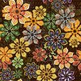 Bezszwowy kwiatu wzór na brown teksturze ilustracja wektor
