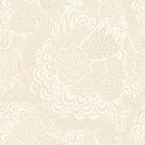 Bezszwowy kwiecisty beżowy tło, ręka rysujący wzór Zdjęcia Royalty Free