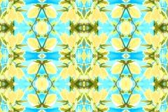 Bezszwowy Kwiecisty deseniowy błękitny kolor żółty Fotografia Royalty Free