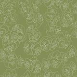 Bezszwowy kwiecisty deseniowy tło konturu światła beż na zieleni Obrazy Royalty Free