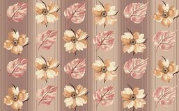 Bezszwowy kwiecisty kwiatów liści wzór royalty ilustracja