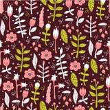 bezszwowy kwiecisty tła Wektoru wzór w Doodle stylu z kwiatami i liśćmi Fotografia Royalty Free