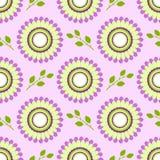Bezszwowy kwiecisty wektoru wzór, symetryczny tło z kolorowymi kwiatami i zieleń liście nad światłem, - fiołkowy tło royalty ilustracja