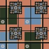 Bezszwowy kwiecisty wzór na małych kwiatach na kwadracie z ciemnym tłem w czarnej komórce dla tekstylnego projekta royalty ilustracja