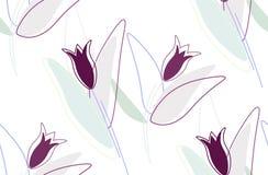 Bezszwowy kwiecisty wzór - ultrafioletowi barwioni kwiaty i serca royalty ilustracja