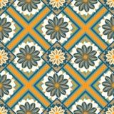 Bezszwowy Kwiecisty wzór, Krajowy ornament, Kafelkowa podłoga i ściana, Zdjęcie Royalty Free