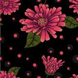 Bezszwowy kwiecisty wzór na czarnym tle z kropkami Fotografia Royalty Free
