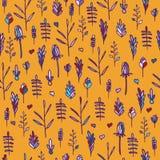 Bezszwowy kwiecisty wzór na pomarańczowym tle Ilustracji