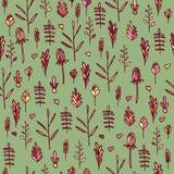 Bezszwowy kwiecisty wzór na zielonym tle Ilustracja Wektor
