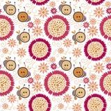 Bezszwowy kwiecisty wzór, pszczoła royalty ilustracja