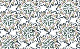 Bezszwowy kwiecisty wzór w Gzhel stylu Błękitny kurenda wzór na białym tle również zwrócić corel ilustracji wektora Zdjęcie Royalty Free