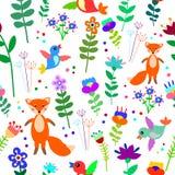 Bezszwowy kwiecisty wzór z ślicznym lisem, kwiatami i ptakami, Obrazy Royalty Free