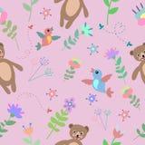Bezszwowy kwiecisty wzór z ślicznymi niedźwiedziami, kwiatami i ptakami, Zdjęcia Royalty Free