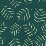 Bezszwowy kwiecisty wzór z akwarelą rozgałęzia się z zielonymi liśćmi ilustracja wektor