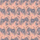 Bezszwowy kwiecisty wzór z arkanami, faborkami, tulipanami, maczkami i lelujami, Powikłany wektorowy druk w menchiach, dymiący po royalty ilustracja