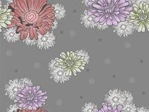 Bezszwowy kwiecisty wzór z barwionymi kwiatami Zdjęcie Royalty Free