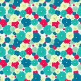 Bezszwowy kwiecisty wzór z czerwienią, błękit, zieleń, jasnożółci kwiaty umieszczający przypadkowo royalty ilustracja