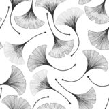 Bezszwowy kwiecisty wzór z ginkgo biloba liśćmi royalty ilustracja