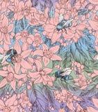Bezszwowy kwiecisty wzór z kwiatami pomarańcze i bumblebees zdjęcia royalty free