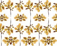 Bezszwowy kwiecisty wzór z liśćmi drzewo Zdjęcie Stock
