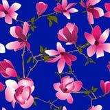 Bezszwowy wzór z magnoliowymi kwiatami Fotografia Royalty Free