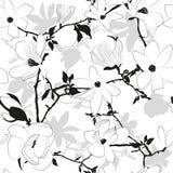 Bezszwowy kwiecisty czarny i biały wzór z magno Obrazy Royalty Free