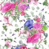Bezszwowy kwiecisty wzór z peonią, anemonami, hortensją, eukaliptusem i liśćmi, akwarela obraz ilustracji