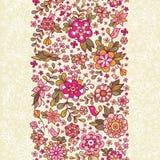 Bezszwowy kwiecisty wzór z ptakiem i kwiatami Zdjęcie Stock