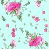 Bezszwowy kwiecisty wzór z różowymi peoniami, anemonami, eukaliptusem i menchia grochem, royalty ilustracja