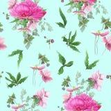 Bezszwowy kwiecisty wzór z różowymi peoniami, anemony, eukaliptus ilustracja wektor