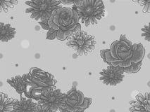Bezszwowy kwiecisty wzór z szarymi kwiatami Fotografia Royalty Free