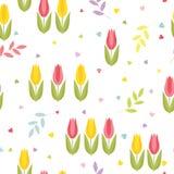 Bezszwowy kwiecisty wzór z tulipanami, sercami i gałązkami z liśćmi, Śliczny barwiony wektor ilustracja wektor